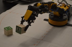 Robotic arm in action.