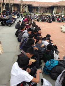 Lunch during field trip to Foothill College.