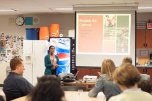 10th Grade Fremont High School student, making her presentation.