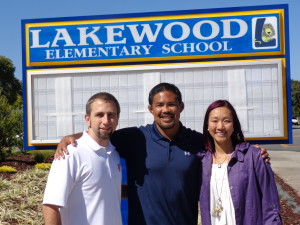 SYWL co-founder Daniel McCune, NCAA wrestling champion Mark Munoz and Lakewood Principal Pamela Cheng kickoff the new league.