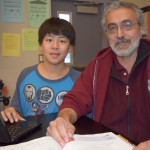 Darren Zhang (left) with his math teacher, Alexi Badaoui (right).