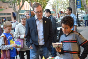 Vice Mayor Gustav Larsson asked students about their project. Council members Jim Davis, Larry Klein and Tara Martin-Milius also checked out the unique project that brought Fairwood students to downtown Sunnyvale.
