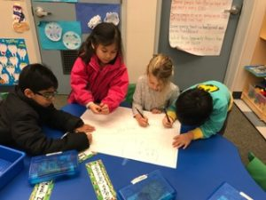 Kindergarteners work on designing their own city