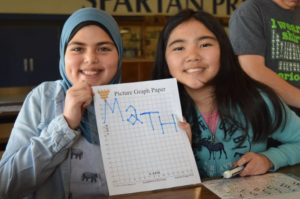Girls spell out the word Math after graphing certain points on picture graph paper
