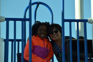 Principal Mourtos is a woman of her word. She moved her office to the playground for a day as a reward for students beating their fundraising goal.