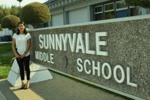 New assistant principal Cecilia Mendoza-Torres Mah poses in front of Sunnyvale Middle