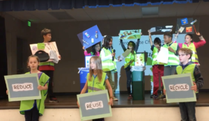 Cumberland students perform a skit about recycling