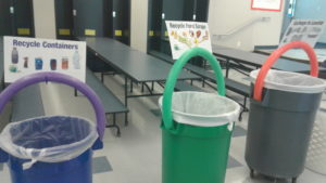 students used color-coded bins for composting, recycling and trash