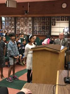 Ellis third graders speak at mock council meeting