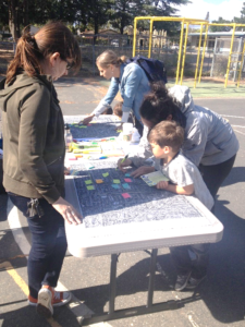 Students and families work together to identify safe walking and biking routes to schools
