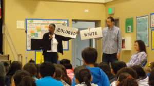 guest speaker Josie McIntosh tells students about segregation