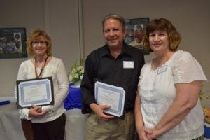 2018 retirees Kathleen Meadows (left), Ron Gantvoort (center), Karen Bautista (Right)
