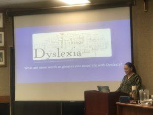 psychologist giving dyslexia presentation