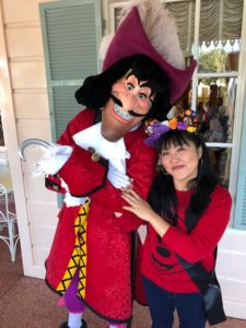 Vicky Tarumoto poses with Captain Hook