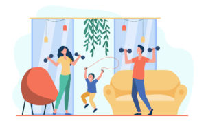 family working out together indoors with weights and jump rope