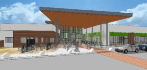 rendering of new lakewood branch library showing the front and a large wooden overhang