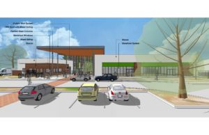 rendering of the new lakewood branch library showing cars parked in front