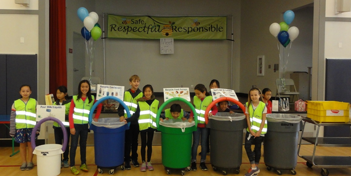 Zero Waste Champions are students who instruct their peers on how to sort compost and recycling from garbage