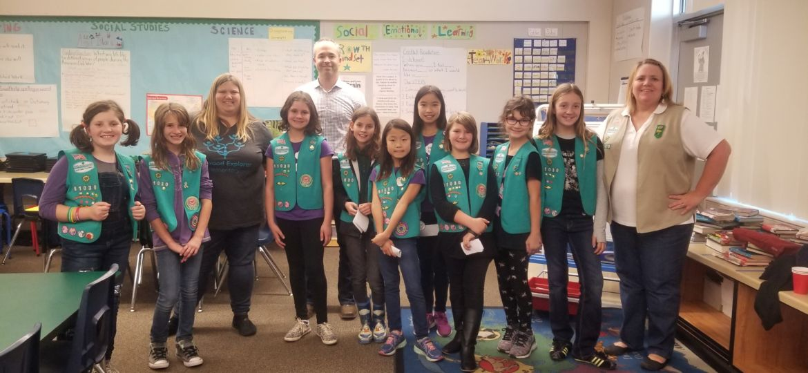 Girlscouts present to Rob about bottle fillers