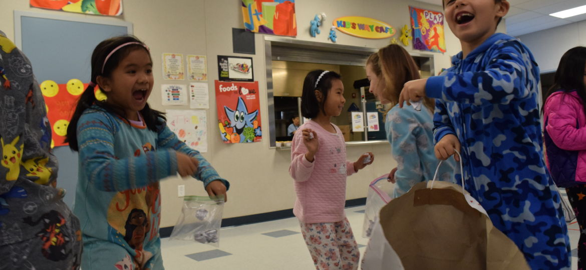 "first grade throw crumpled paper in ""snowball fight"""