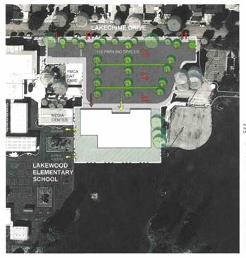 aerial view of lakewood branch library site