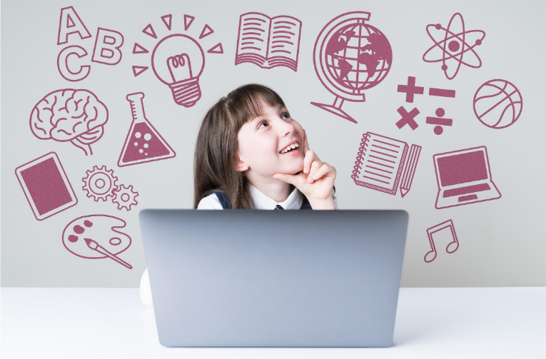 girl behind laptop daydreaming about school work